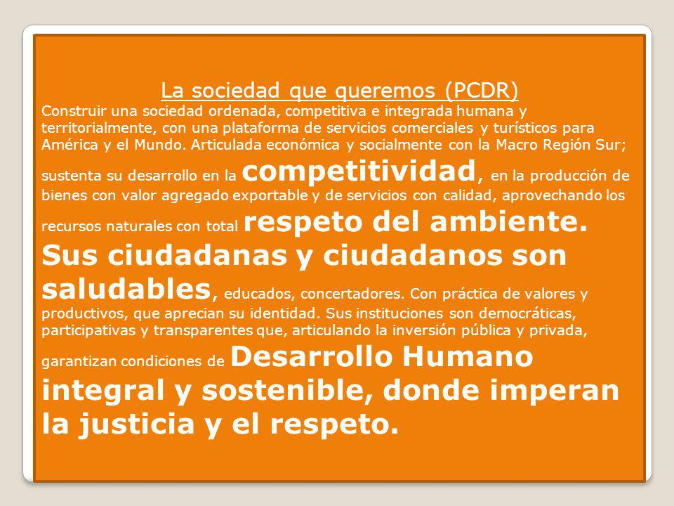 La sociedad que queremos (PCDR) Construir una sociedad ordenada, competitiva e integrada humana y territorialmente, con una plataforma de servicios co