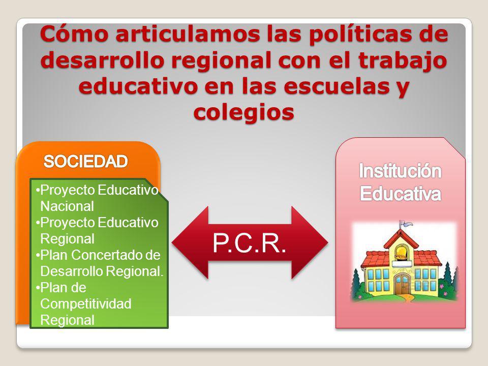 Cómo articulamos las políticas de desarrollo regional con el trabajo educativo en las escuelas y colegios P.C.R. I.E. Proyecto Educativo Nacional Proy