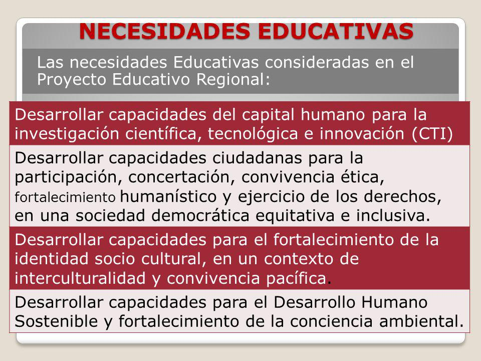 NECESIDADES EDUCATIVAS Las necesidades Educativas consideradas en el Proyecto Educativo Regional: Desarrollar capacidades del capital humano para la i