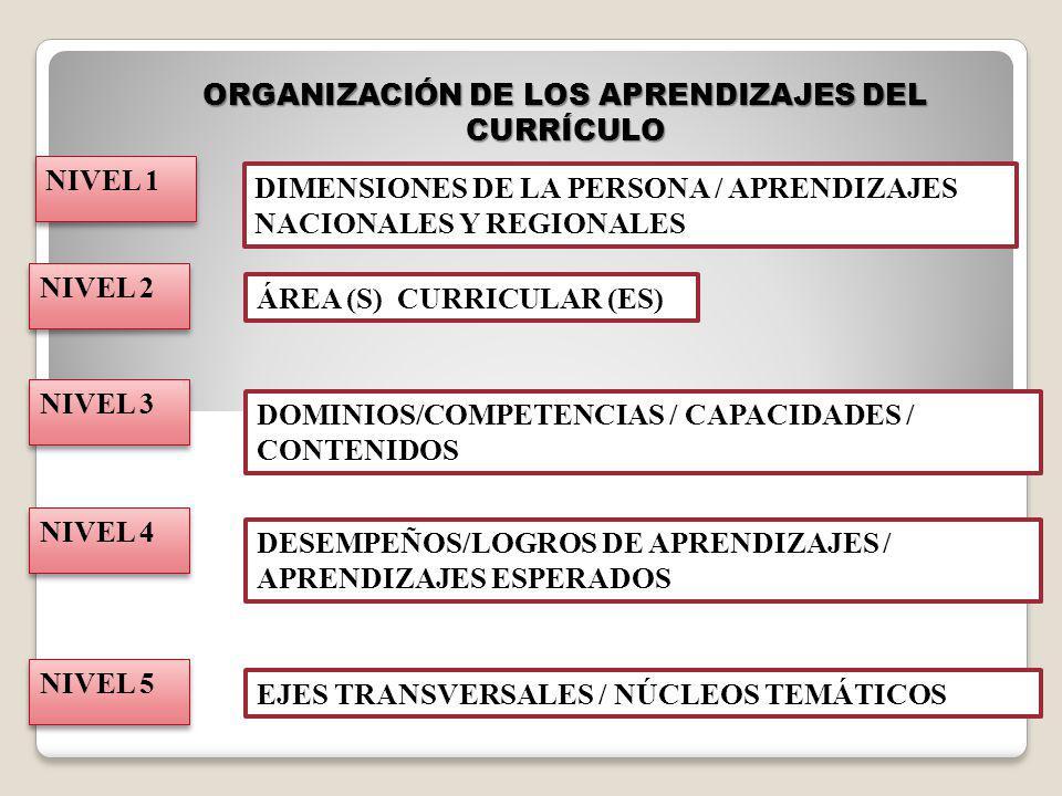 ORGANIZACIÓN DE LOS APRENDIZAJES DEL CURRÍCULO NIVEL 2 ÁREA (S) CURRICULAR (ES) NIVEL 3 DOMINIOS/COMPETENCIAS / CAPACIDADES / CONTENIDOS NIVEL 4 DESEM