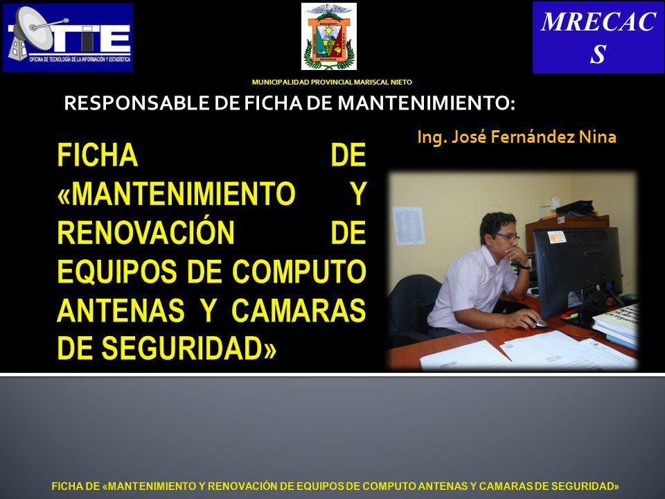 RESPONSABLE DE FICHA DE MANTENIMIENTO: Ing.