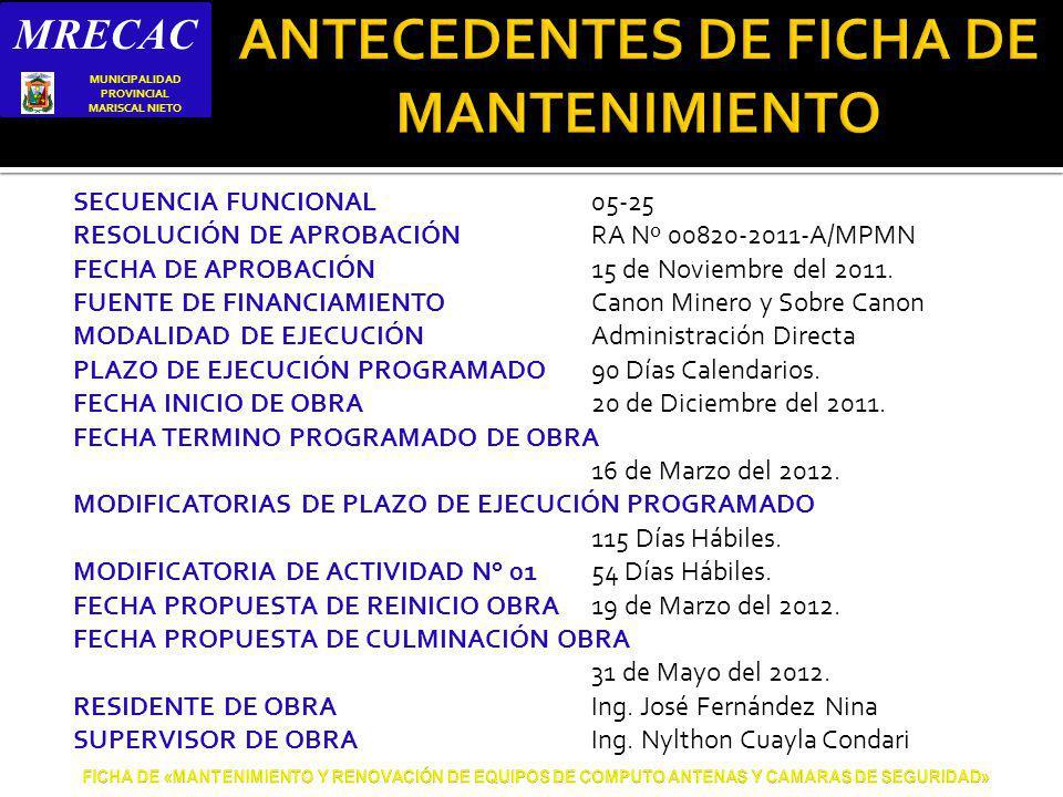 SECUENCIA FUNCIONAL05-25 RESOLUCIÓN DE APROBACIÓNRA Nº 00820-2011-A/MPMN FECHA DE APROBACIÓN15 de Noviembre del 2011.