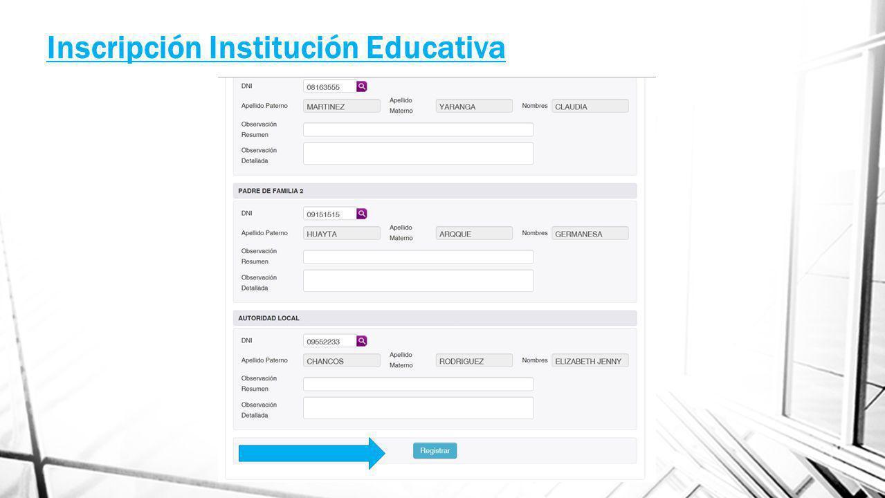 Inscripción Institución Educativa
