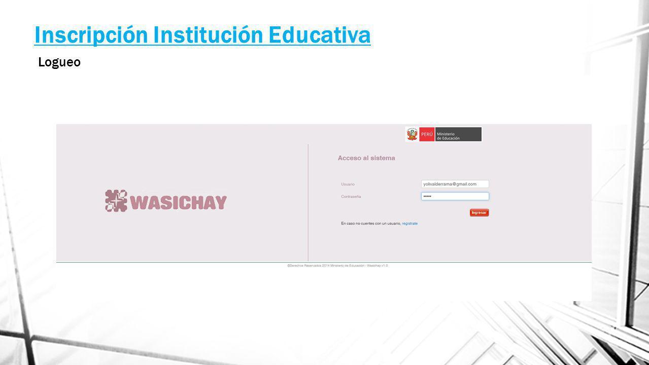 Inscripción Institución Educativa Logueo
