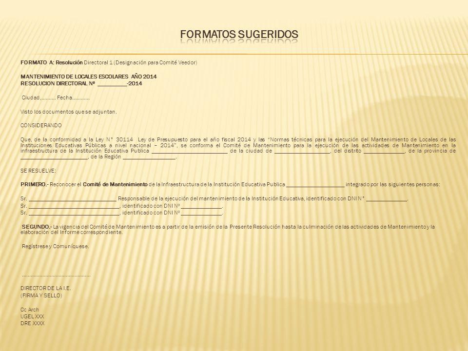 FORMATO A: Resolución Directoral 1 (Designación para Comité Veedor) MANTENIMIENTO DE LOCALES ESCOLARES AÑO 2014 RESOLUCION DIRECTORAL Nº __________-20