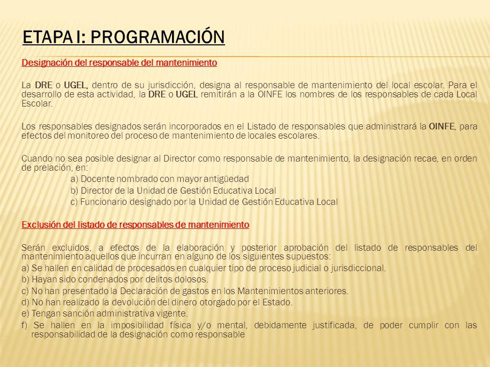 Designación del responsable del mantenimiento La DRE o UGEL, dentro de su jurisdicción, designa al responsable de mantenimiento del local escolar. Par