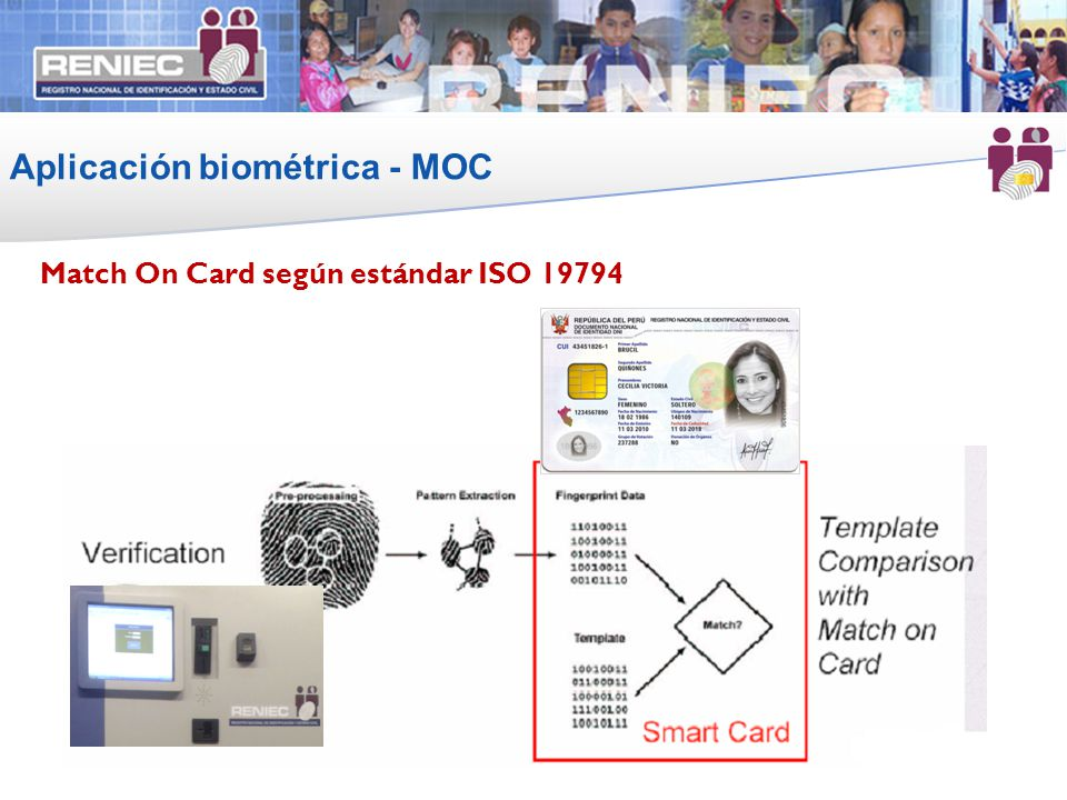 Aplicación biométrica - MOC 12 Match On Card según estándar ISO 19794 12