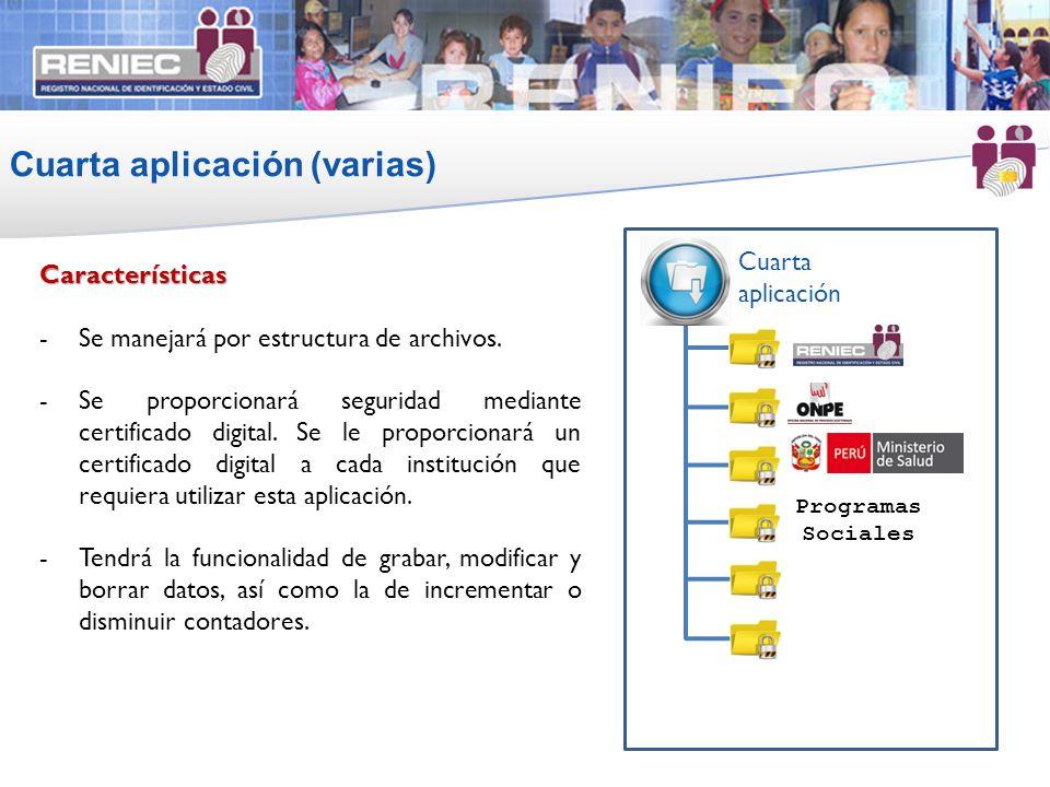 Cuarta aplicación (varias) 14 Características -Se manejará por estructura de archivos. -Se proporcionará seguridad mediante certificado digital. Se le