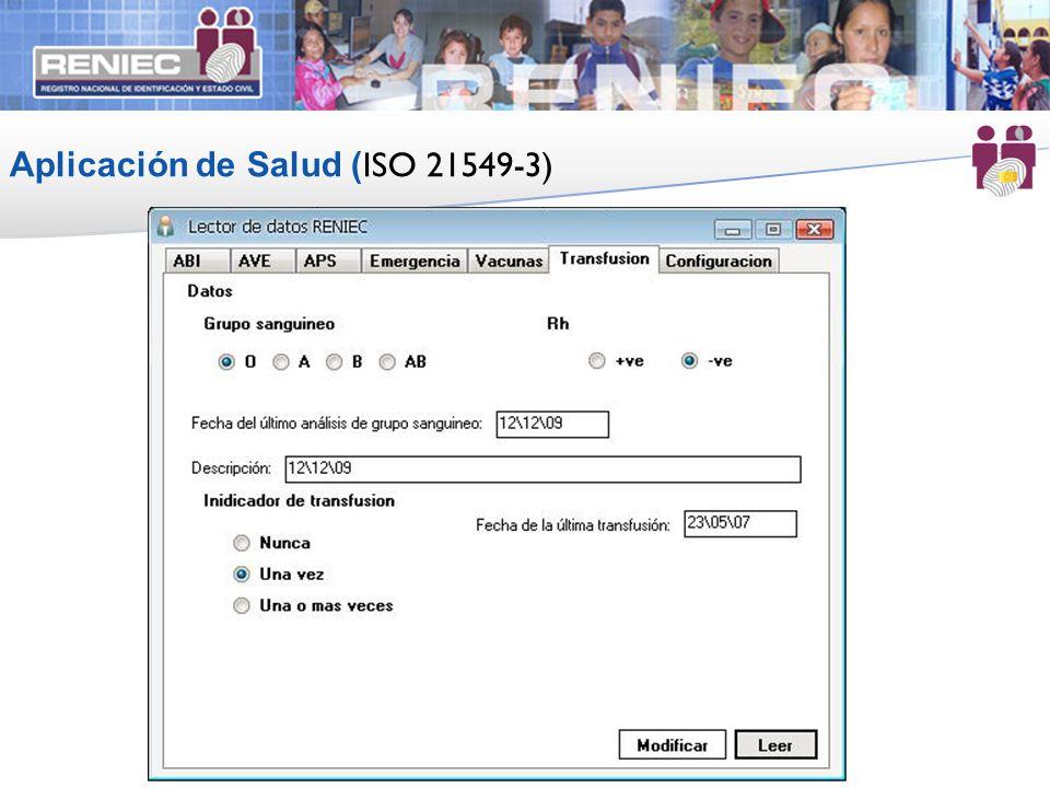 Aplicación de Salud ( ISO 21549-3) 20