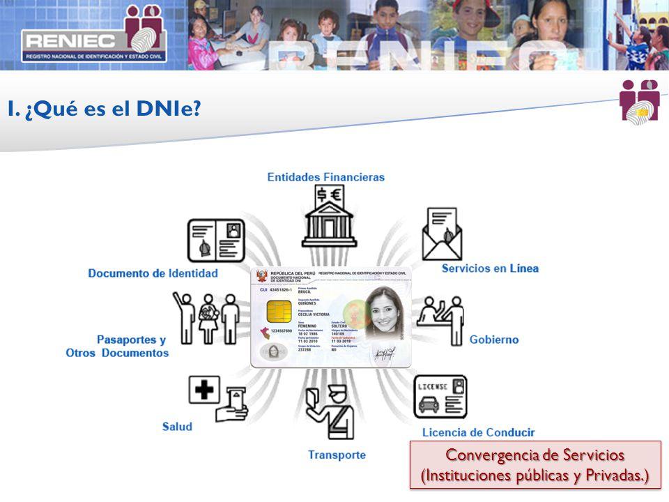 Convergencia de Servicios (Instituciones públicas y Privadas.) Convergencia de Servicios (Instituciones públicas y Privadas.) I. ¿Qué es el DNIe?