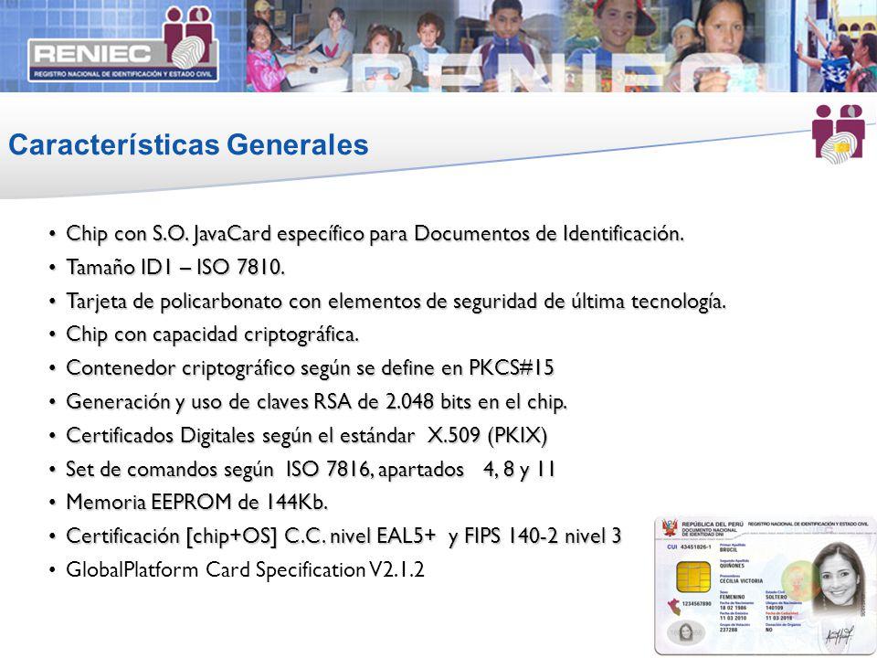 Chip con S.O. JavaCard específico para Documentos de Identificación.Chip con S.O. JavaCard específico para Documentos de Identificación. Tamaño ID1 –