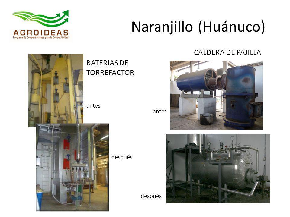 BATERIAS DE TORREFACTOR antes después Naranjillo (Huánuco) CALDERA DE PAJILLA antes después