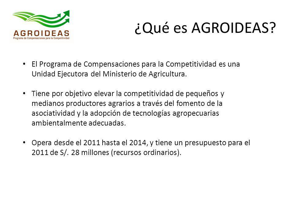 ¿Qué es AGROIDEAS? El Programa de Compensaciones para la Competitividad es una Unidad Ejecutora del Ministerio de Agricultura. Tiene por objetivo elev