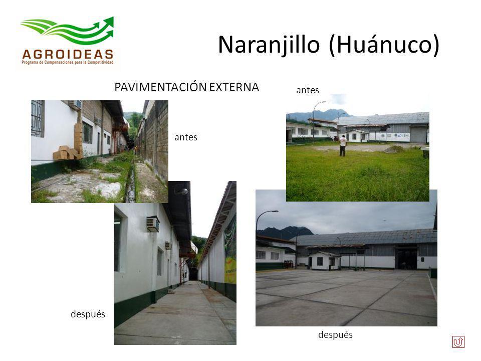 PAVIMENTACIÓN EXTERNA antes después Naranjillo (Huánuco)