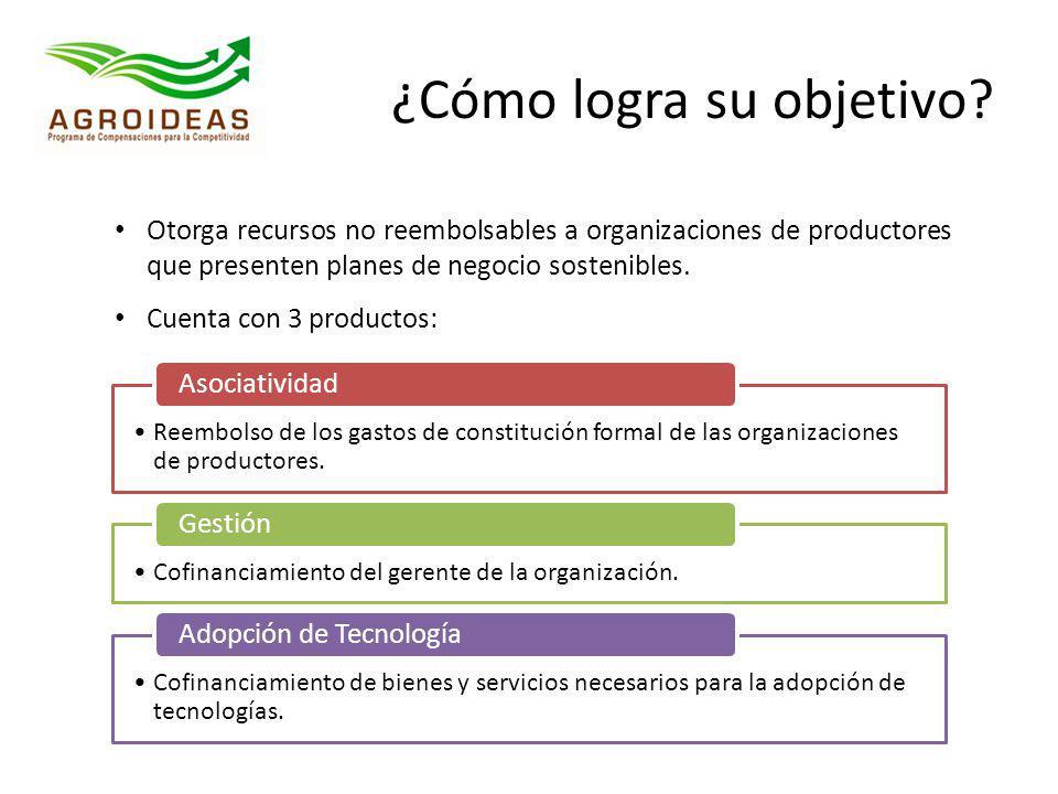 ¿Cómo logra su objetivo? Otorga recursos no reembolsables a organizaciones de productores que presenten planes de negocio sostenibles. Cuenta con 3 pr