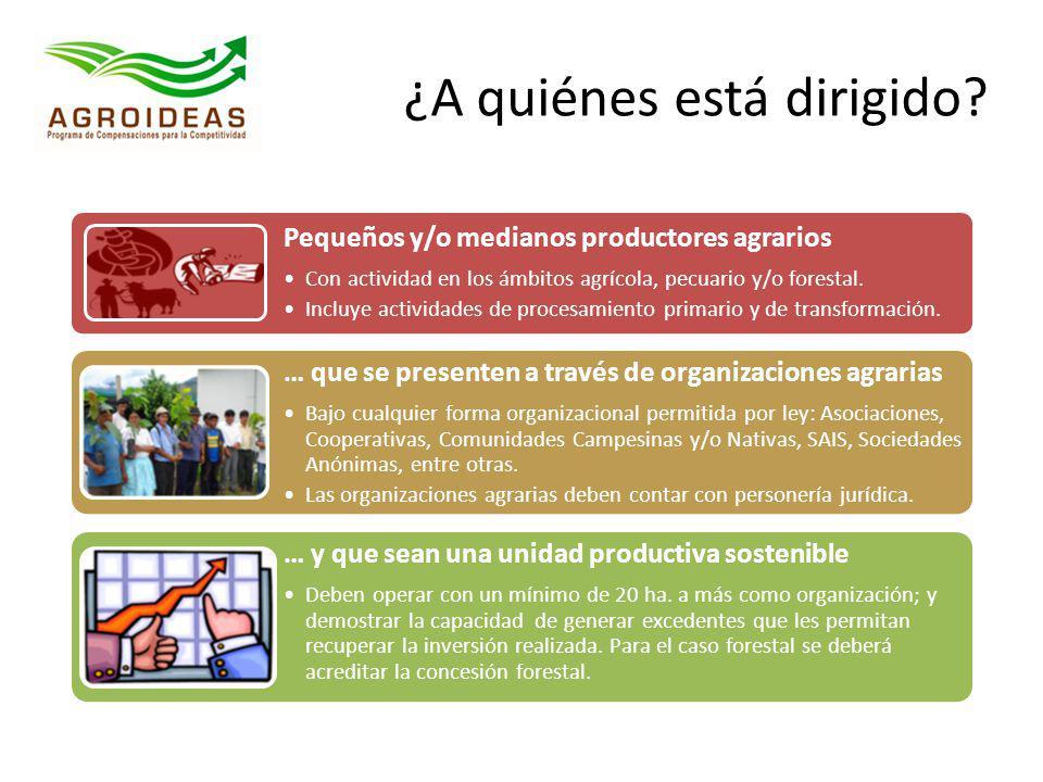 ¿A quiénes está dirigido? Pequeños y/o medianos productores agrarios Con actividad en los ámbitos agrícola, pecuario y/o forestal. Incluye actividades