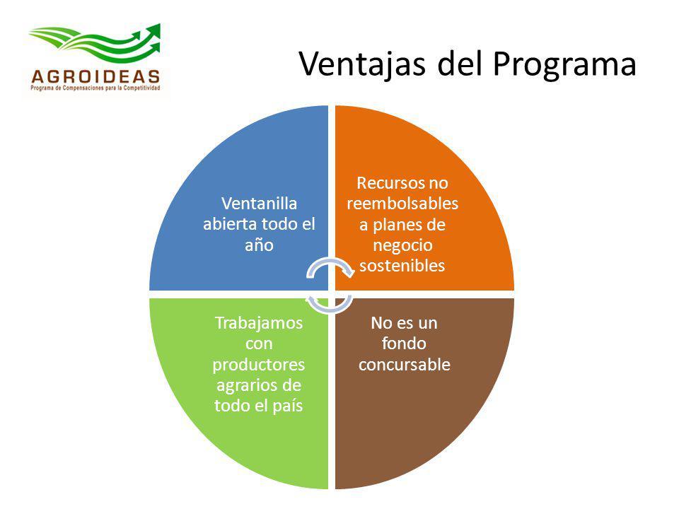 Ventajas del Programa Ventanilla abierta todo el año Recursos no reembolsables a planes de negocio sostenibles No es un fondo concursable Trabajamos c