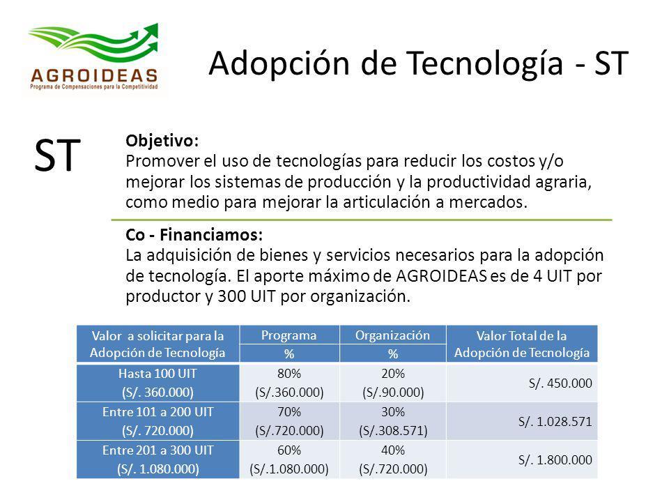 Adopción de Tecnología - ST ST Objetivo: Promover el uso de tecnologías para reducir los costos y/o mejorar los sistemas de producción y la productivi