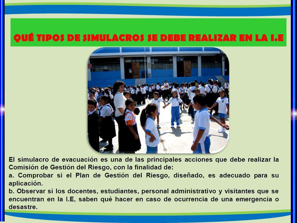 QUÉ TIPOS DE SIMULACROS SE DEBE REALIZAR EN LA I.E El simulacro de evacuación es una de las principales acciones que debe realizar la Comisión de Gestión del Riesgo, con la finalidad de: a.