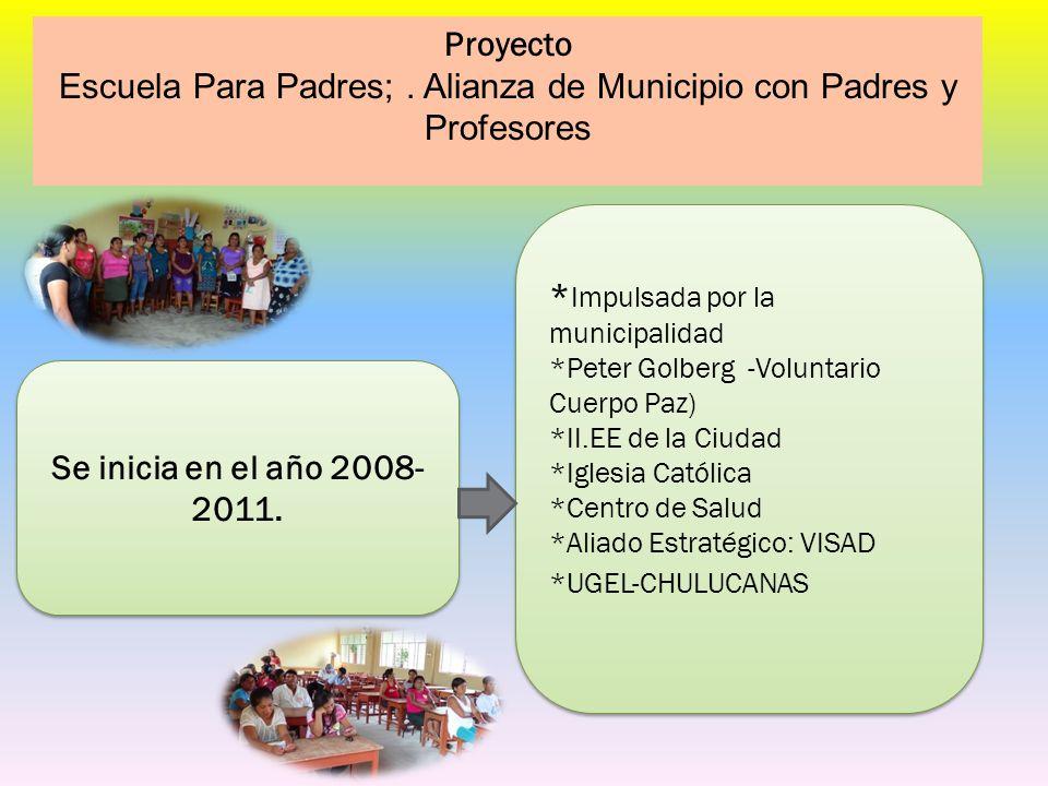 Proyecto Escuela Para Padres;. Alianza de Municipio con Padres y Profesores Se inicia en el año 2008- 2011. * Impulsada por la municipalidad *Peter Go