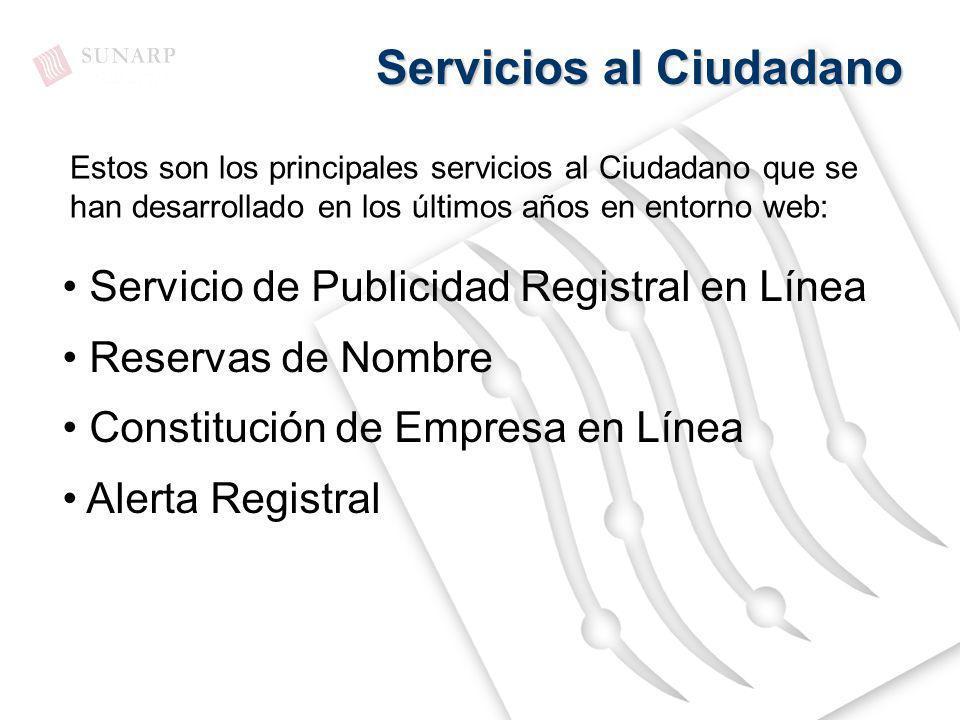 Servicios al Ciudadano Servicio de Publicidad Registral en Línea Reservas de Nombre Constitución de Empresa en Línea Alerta Registral Estos son los pr