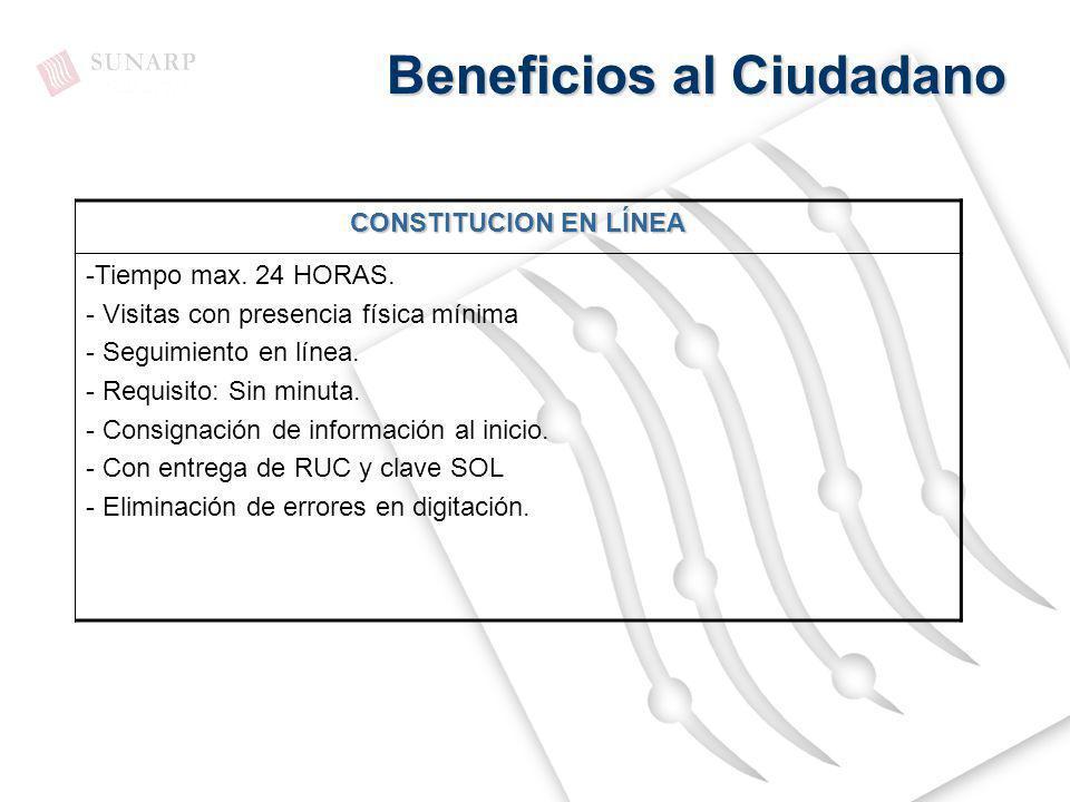 Beneficios al Ciudadano CONSTITUCION EN LÍNEA -Tiempo max. 24 HORAS. - Visitas con presencia física mínima - Seguimiento en línea. - Requisito: Sin mi