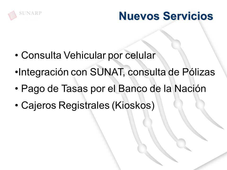Nuevos Servicios Consulta Vehicular por celular Integración con SUNAT, consulta de Pólizas Pago de Tasas por el Banco de la Nación Cajeros Registrales