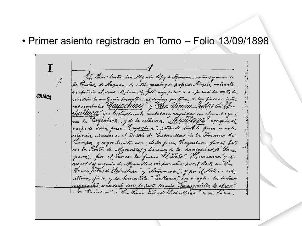 Primer asiento registrado en Tomo – Folio 13/09/1898