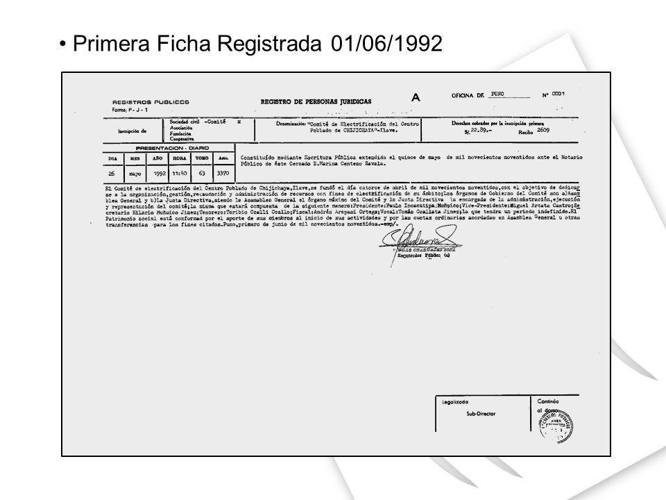 Primera Ficha Registrada 01/06/1992