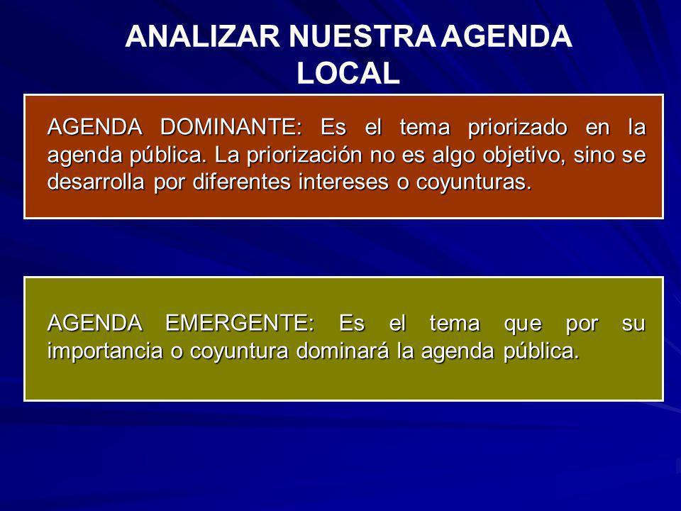 ¿Cuál es la agenda dominante en mi región?