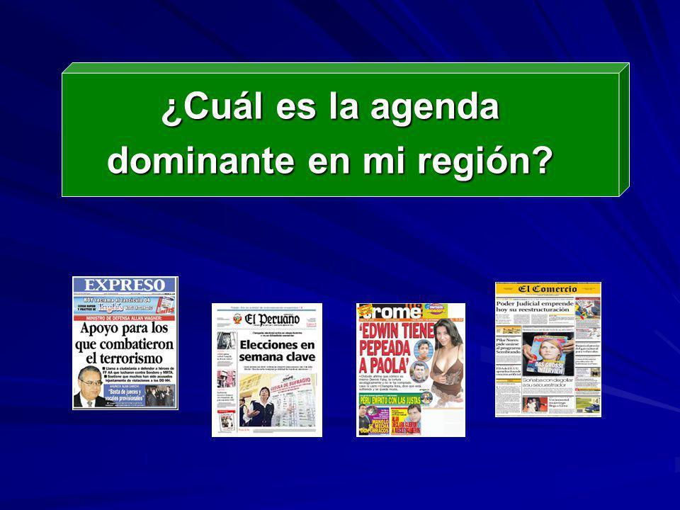 AGENDA DOMINANTE TEMAS DE LA AGENDA PUBLICA ORDEN DE PRIORIDAD ACTORES QUE INFLUYEN A MANTENER LA AGENDA
