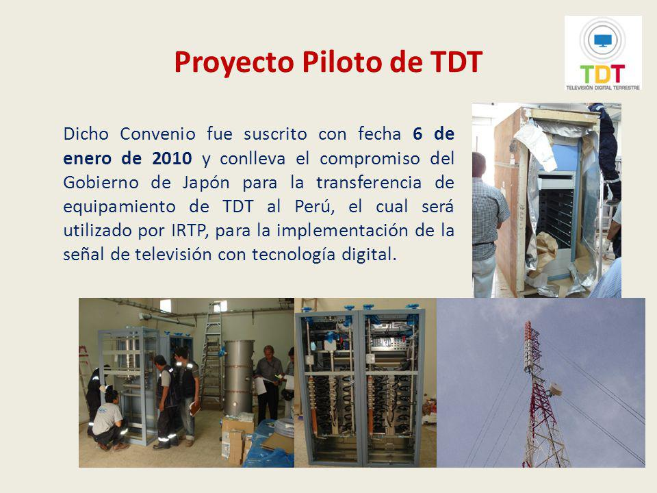 Implementación de la televisión digital terrestre en el Perú Ingreso al mercado peruano de equipos de televisión digital terrestre con estándar ISDB-T En el mes de febrero del 2010, se ha iniciado la venta al público de los primeros televisores con el decodificador del estándar ISDB-T incorporado, equipos de telefonía móvil con tecnología One Seg y decodificadores externos para recibir la señal de TDT.