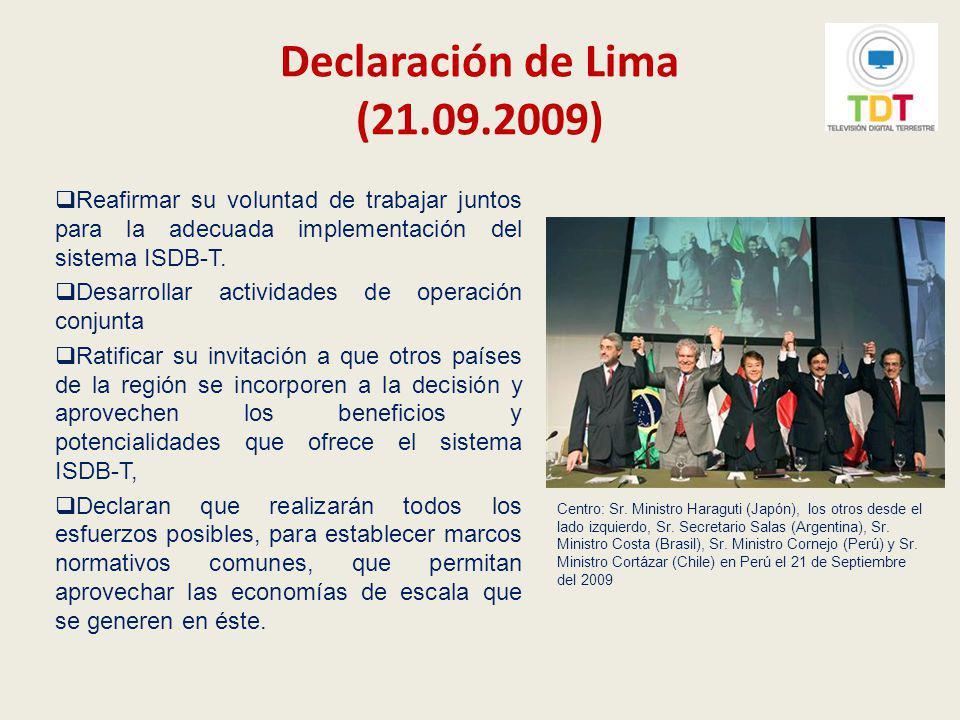 Implementación de la televisión digital terrestre en el Perú El 22 de setiembre de 2009 se realizó la Primera reunión del Grupo de Trabajo Conjunto Perú-Japón sobre TDT.
