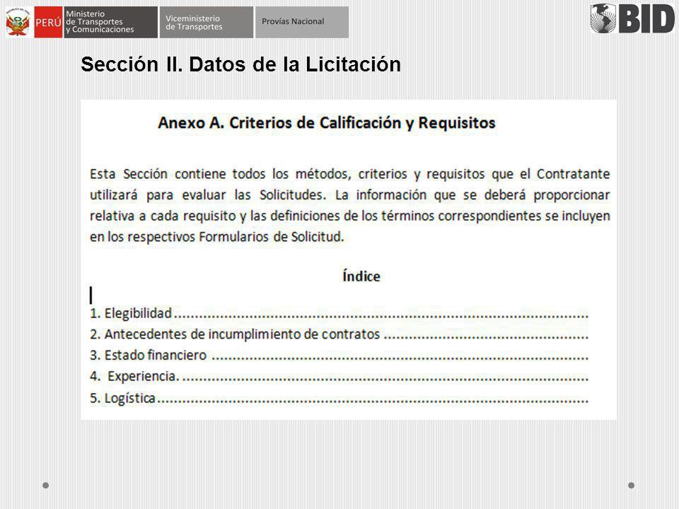 Sección II. Datos de la Licitación