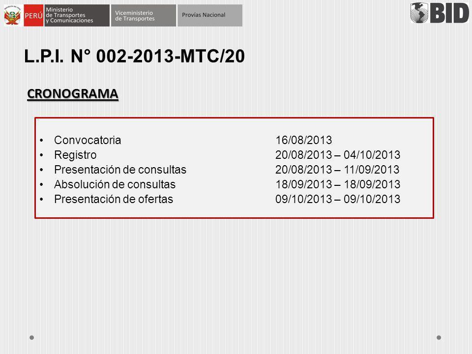 CRONOGRAMA Convocatoria16/08/2013 Registro20/08/2013 – 04/10/2013 Presentación de consultas20/08/2013 – 11/09/2013 Absolución de consultas18/09/2013 –