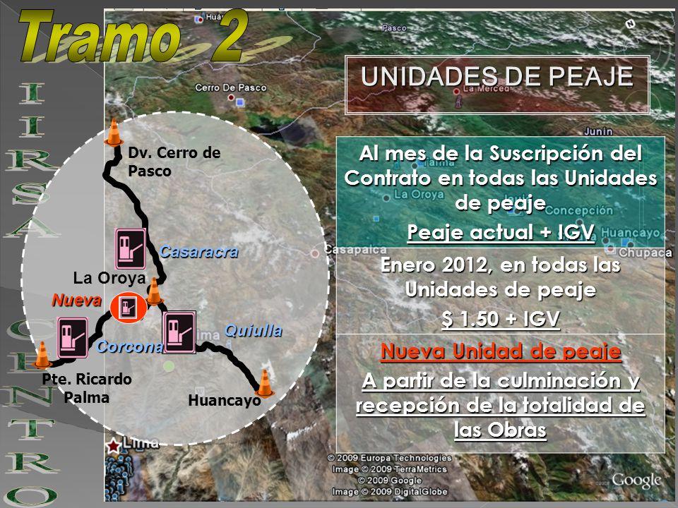 Al mes de la Suscripción del Contrato en todas las Unidades de peaje Peaje actual + IGV Enero 2012, en todas las Unidades de peaje $ 1.50 + IGV Nueva