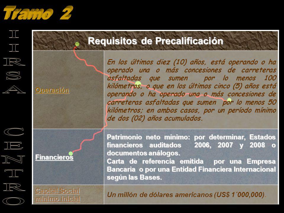 Requisitos de Precalificación Operación En los últimos diez (10) años, está operando o ha operado una o más concesiones de carreteras asfaltadas que s