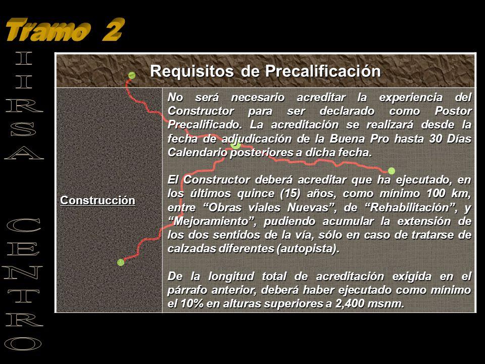 Requisitos de Precalificación Construcción No será necesario acreditar la experiencia del Constructor para ser declarado como Postor Precalificado. La