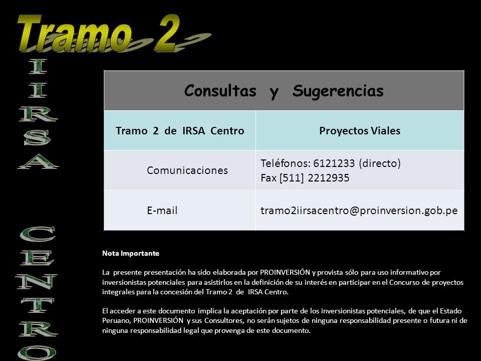 Consultas y Sugerencias Tramo 2 de IRSA CentroProyectos Viales Comunicaciones Teléfonos: 6121233 (directo) Fax [511] 2212935 E-mailtramo2iirsacentro@p