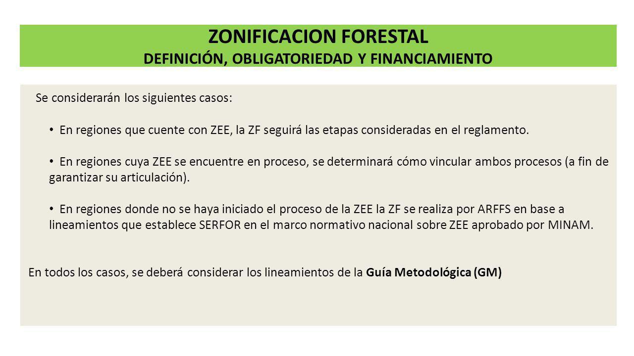 Se considerarán los siguientes casos: En regiones que cuente con ZEE, la ZF seguirá las etapas consideradas en el reglamento. En regiones cuya ZEE se