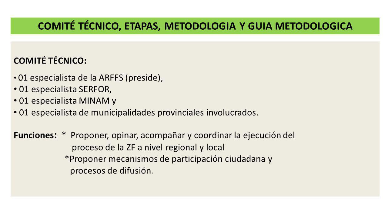 ETAPAS DE LA ZONIFICACIÓN FORESTAL Preparación: La ARFFS, elabora la propuesta de plan de trabajo con la participación del SERFOR y MINAM.