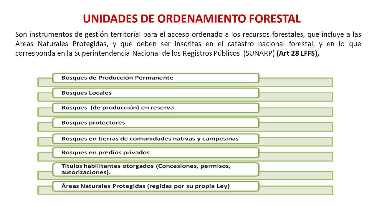 UNIDADES DE ORDENAMIENTO FORESTAL Son instrumentos de gestión territorial para el acceso ordenado a los recursos forestales, que incluye a las Áreas N