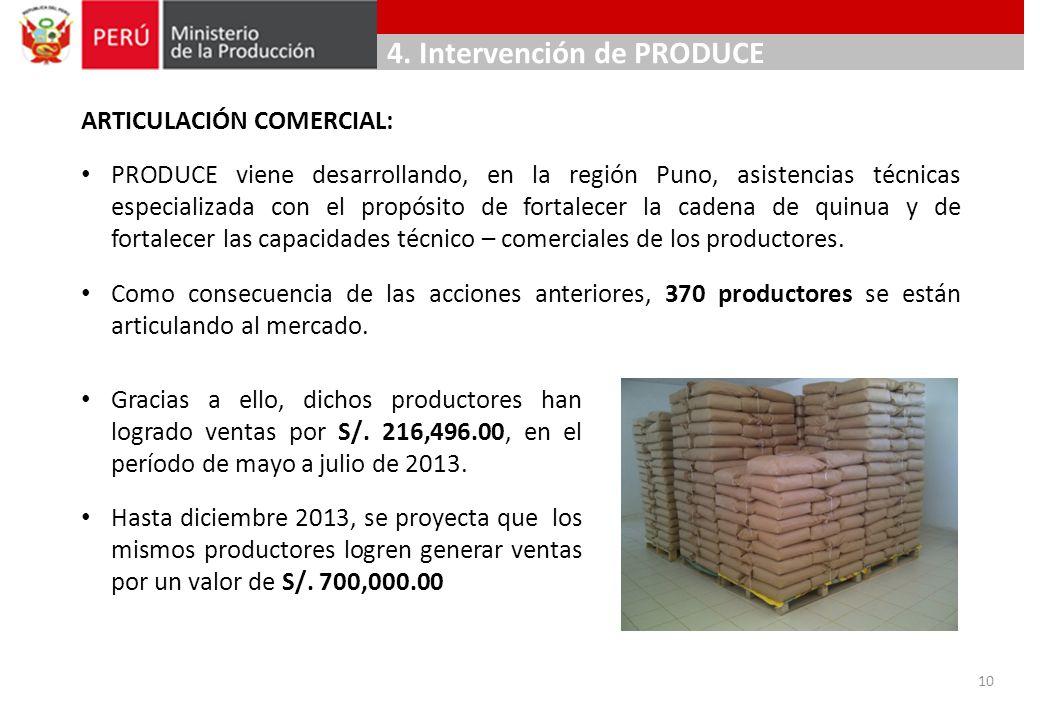 ARTICULACIÓN COMERCIAL: PRODUCE viene desarrollando, en la región Puno, asistencias técnicas especializada con el propósito de fortalecer la cadena de