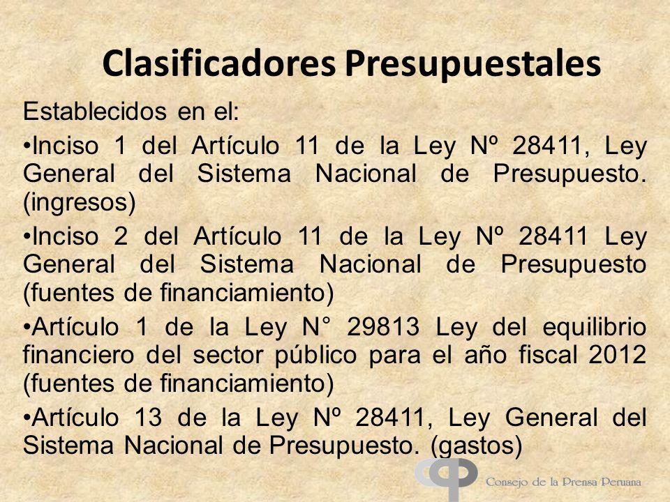 Clasificadores Presupuestales Establecidos en el: Inciso 1 del Artículo 11 de la Ley Nº 28411, Ley General del Sistema Nacional de Presupuesto. (ingre