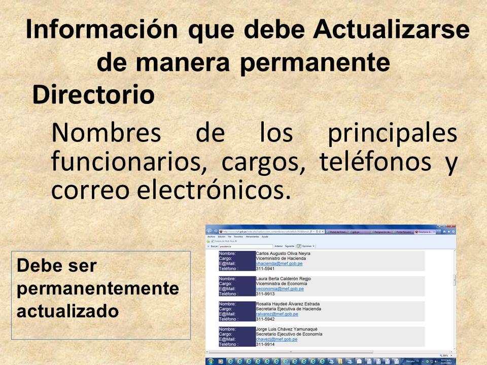 Información que debe Actualizarse de manera permanente Nombres de los principales funcionarios, cargos, teléfonos y correo electrónicos. Directorio De