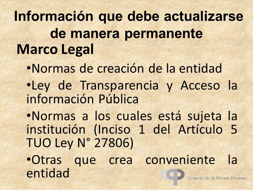 Información que debe actualizarse de manera permanente Normas de creación de la entidad Ley de Transparencia y Acceso la información Pública Normas a