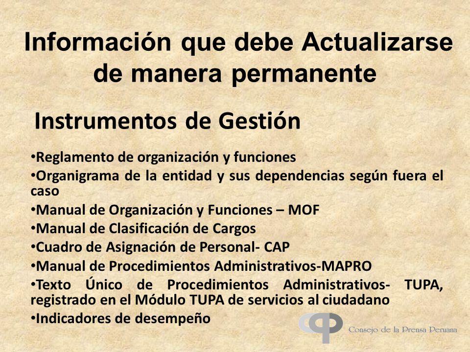 Información que debe Actualizarse de manera permanente Reglamento de organización y funciones Organigrama de la entidad y sus dependencias según fuera