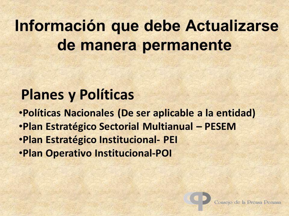 Información que debe Actualizarse de manera permanente Políticas Nacionales (De ser aplicable a la entidad) Plan Estratégico Sectorial Multianual – PE