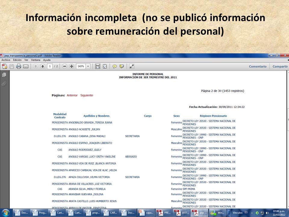 Información incompleta (no se publicó información sobre remuneración del personal)