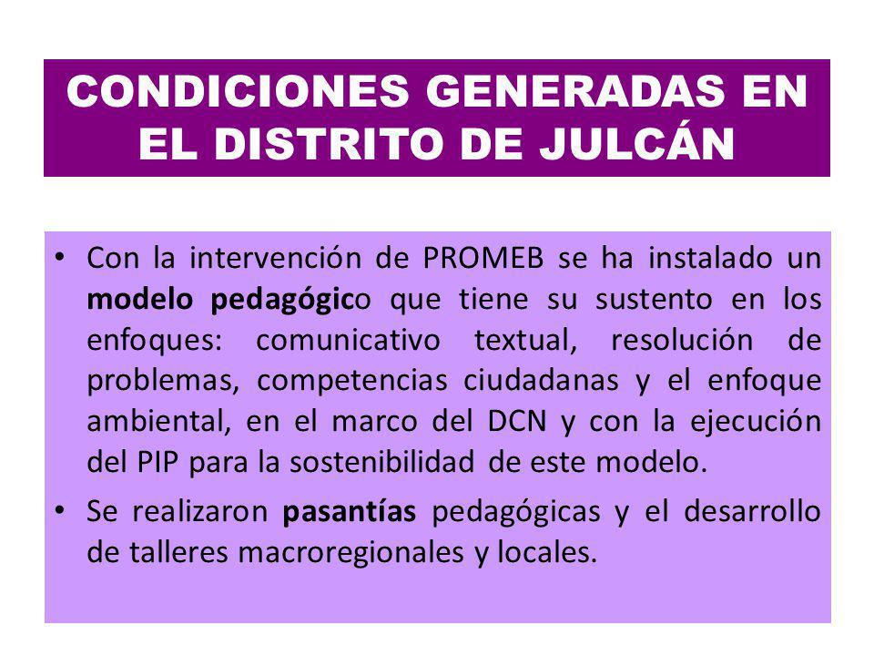 CONDICIONES GENERADAS EN EL DISTRITO DE JULCÁN Con la intervención de PROMEB se ha instalado un modelo pedagógico que tiene su sustento en los enfoque